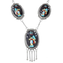High Relief Zuni Inlay Long Hair Kachina Necklace Earrings Set 39536