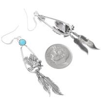 Navajo Silver Eagle Feather Dangle Earrings 39539