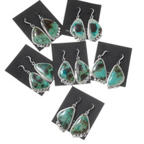 High Grade Green Turquoise Navajo Earrings 39540