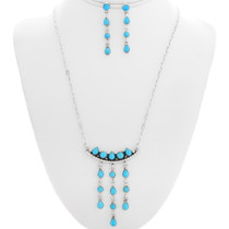 Sterling Silver Turquoise Zuni Dangle Necklace Set 39546