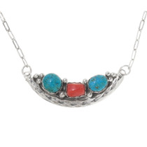 Navajo Turquoise Coral Necklace 39547
