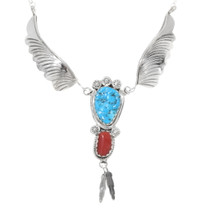 Navajo Turquoise Coral Silver Feather Necklace 39548