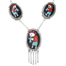 High Relief Coral Inlay Zuni Kokopelli Necklace 39550