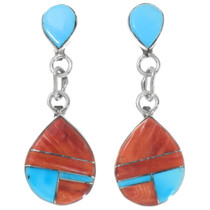 Turquoise Spiny Oyster Shell Inlay Dangle Earrings 39552