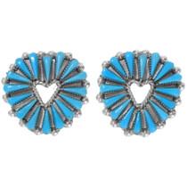 Zuni Needlepoint Turquoise Post Earrings 39560