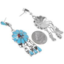 Sterling Silver Zuni Made Turquoise Earrings Artist Burdian Soseeah Signed 39562