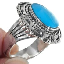 Navajo Sterling Silver Turquoise Ladies Ring 39565