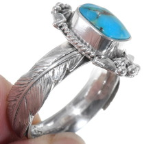 Navajo Made Sterling Silver Feather Design Turquoise Ring 39567