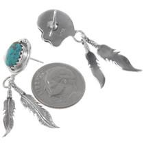 Navajo Rita Largo Turquoise Feather Earrings 39569