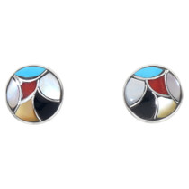 Zuni Multi Color Inlay Turquoise Earrings 39572