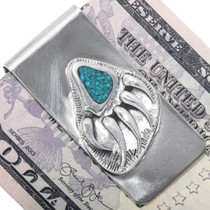 Turquoise Chip Inlay Bear Claw Silver Money Clip 39574