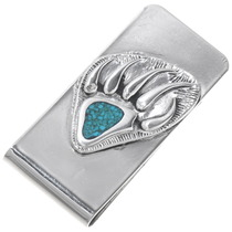 Turquoise Silver Bear Paw Money Clip 39574