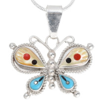 Zuni Inlay Sterling Silver Butterfly Pendant 39579