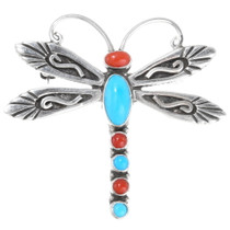 Navajo Turquoise Coral Silver Dragonfly Pin Brooch 39583