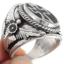 Native American Black and Silver Cross Ring 39590