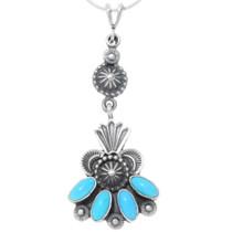Sleeping Beauty Turquoise Silver Navajo Pendant 39595