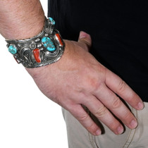 Old Pawn Native American Turquoise Coral Cuff Bracelet 39604