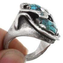Effie Calavaza Snake Design Zuni Arizona Turquoise Ring 39605