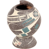 Mata Ortiz Speckled Pottery Matching Stand 39612