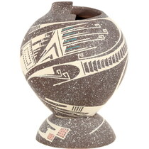 Ancient Mimbres Native American Hand Painted Design Pottery 39612