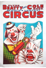 Large Vintage Circus Poster Clyde Beatty and Cole Bros. 39627