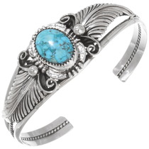 Genuine Turquoise Sterling Silver Ladies Bracelet 22612