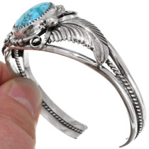 Turquoise Sterling Silver Feather Bracelet 22612