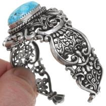 Silver Filigree Openwork Turquoise Bracelet 39630