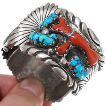 Solid Sterling Silver Lone Mountain Turquoise Watch Cuff 39632