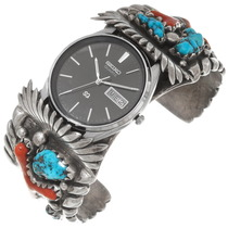 Vintage Zuni Turquoise Coral Mens Watch 39632