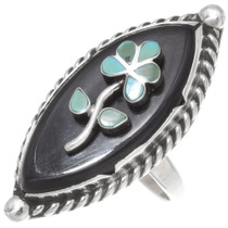Zuni Old Pawn Inlay Flower Ring 39634