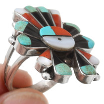 Zuni Sunface Turquoise Inlay Ring 39638