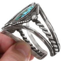 Vintage 1970s Turquoise Sterling Silver Cuff Bracelet 39639