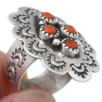 Native American Red Coral Western Ring 39640