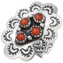 Vintage Sterling Silver Coral Navajo Ring 39640