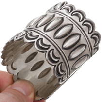 Wide Silver Cuff Hand Hammered Repoussé Pattern 39651