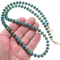 Green Turquoise Gold Beaded Navajo Necklace 32996