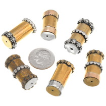 Navajo Silver Gold Barrel Bead 37081