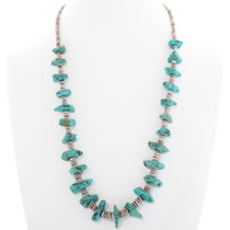 Turquoise Nugget Heishi Necklace 39659