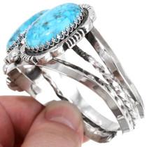 Three Stone Turquoise Sterling Silver Navajo Bracelet 39661
