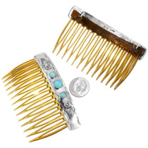 Sterling Silver Native American Turquoise Hair Comb 39662