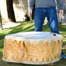 Huge Single Log Rawhide Drum Head Pueblo Made 39264