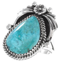 Blue Diamond Turquoise Silver Ring 39681
