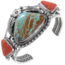 Number 8 Turquoise Apple Coral Navajo Cuff Bracelet 39683