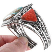 Sterling Silver Coral Turquoise Bracelet 39683