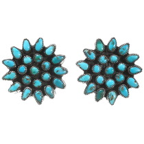 Old Pawn Zuni Turquoise Earrings 39628