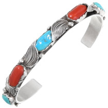 Old Pawn Turquoise Coral Bracelet 39665
