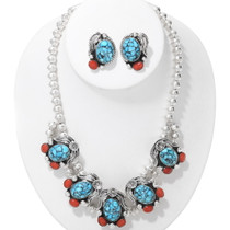 Navajo Turquoise Coral Choker Necklace Earrings Set 39686