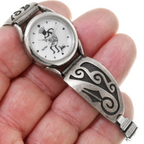 Native American Old Pawn Sterling Silver Watch 39699