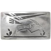 Vintage Hopi Sterling Silver Roadrunner Buckle 39712